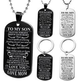 $enCountryForm.capitalKeyWord NZ - Dog Tags Pendant Necklace Family Jewelry To My Son Daughter We Love You Love Dad Mom Necklace Army Cards Stainless Steel Jewelry