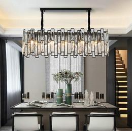 Ingrosso Nuovo lampadario nero postmoderno Illuminazione Rettangolo Sala da pranzo Isola cucina Lampade a LED Lampade a sospensione in cristallo MYY