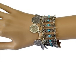 wholesale silver chains india Australia - Ethnic Boho Blue Stone Bracelet Turkish Gypsy Tribal Chic Antique Silver Coin Tassel Bracelets For Women India Jewelry pulseira