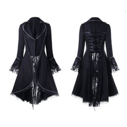 woman lace long NZ - Women Vintage Gothic Long Sleeve Lace Stitching Velvet Tuxedo Jacket Medieval Aristocratic Ladies Vampire Dress Lolita Cosplay#6 V191209