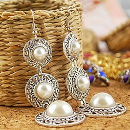 $enCountryForm.capitalKeyWord Australia - Vintage Pearl Drop Earring For Women Ancient Sliver Color Long Pendant Dangle Earring Statement Ear Jewelry Exquisite Gift