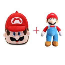 $enCountryForm.capitalKeyWord Canada - Hot Sale Super Mario Bros Mario Plush Backpack Mini School Bag 23.5x21cm and Mario Plush Doll 23cm For Child Best Gifts