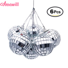 disco ball decorations 2020 - Amawill 6pcs Christmas Ball Ornaments 3cm 5cm Mini Disco Mirror Ball Christmas Tree Decoration Xmas Party Favor And Gift