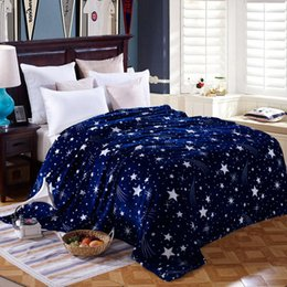 portable bedding adults Australia - Wholesale- Bright stars bedspread blanket 200x230cm High Density Super Soft Flannel Blanket to on for the sofa Bed Car Portable Plaids