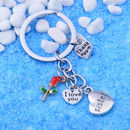 $enCountryForm.capitalKeyWord Australia - Silver Thank You Heart Keychain Gifts For Sisters Best Friend Charms Jewelry Flower Keyring Friendship Family Love Pendant