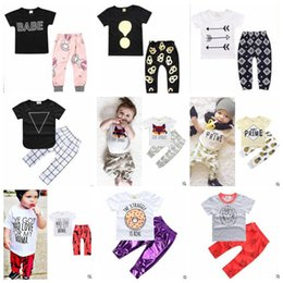 Floral Print Shirts Baby Australia - Baby Girl Clothes Kids Ins Clothing Sets Floral Cartoon Tops Pants Suits Letter Striped Camo Animal Print T-shirt Pants Outfits 1--3Y B5387