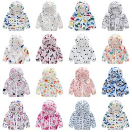 Ultra thin jacket online shopping - Kids dinosaur butterfly print Hoodies Ultra thin breathable Tench coats baby Boys girls Outwear Sun protection clothing Jackets C6416