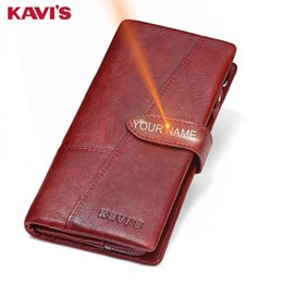 Handy Wallets Australia - Free Engraving Genuine Leather Women Wallet Coin Purse Female Portomonee Lady Long Handy Card Holder Clutch Gift For Name