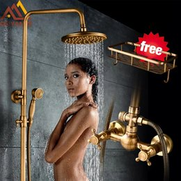 $enCountryForm.capitalKeyWord Australia - Antique Brass Shower Faucets Set 8'' Rainfall Shower Head Commodity Shelf Dual Handle Mixer Tap