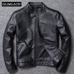 mens high collar leather jackets NZ - Plus Size 5XL Casual Real Leather Jacket Men Slim Stand Collar Black 100% Cowhide Jackets Mens High Quality Genuine Leather Coat
