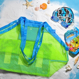 Black Swimming Toys Australia - Portable Beach Bag Foldable Mesh Swimming Bag For Children Beach Toy Baskets Storage Kids Outdoor Swimming Waterproof Bags #949597