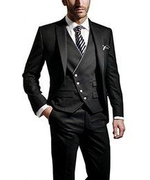 Dark Green Tie Grey Suit Australia - Custom Made Groom Tuxedos Black Groomsmen Peak Lapel Best Man Suit Wedding Men Suits Bridegroom Blazer (Jacket+Pants+Tie+Vest) A7