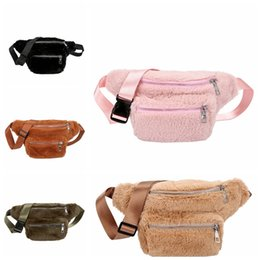 Wholesale clothing packs online shopping - Faux Fur Waist Bags Women Plush Fanny Pack Hairy Shoulder Chest Bag Girls Winter Fashion Waist Pack Storage Bags GGA1469