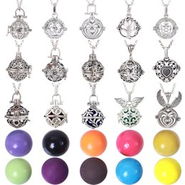 Discount ball chain singapore - Women Lockets Pendant Necklace Pregnancy Balls With Lava Stone Lockets Essential Oil Diffuser Necklace Mexico Balls