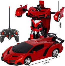 Electric Sports Cars NZ - RC Car Transformation Robots Sports Vehicle Model Robots Toys Cool Deformation Car Kids Toys Gifts For Boys T32