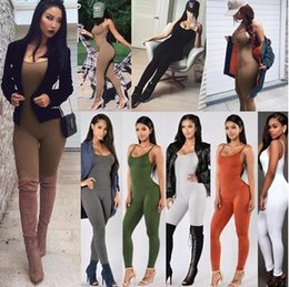 Orange Elegant Jumpsuits Australia - 2018 Fashion Women Summer suede bodycon Bodysuit rompers womens party elegant jumpsuit sleeveless one piece outfits playsuit Overalls