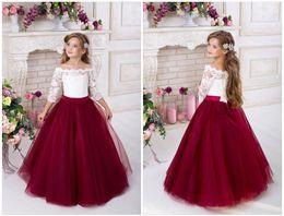 $enCountryForm.capitalKeyWord NZ - Long Junior Graduation Dress Burgundy Tulle Lace Flower Girl Dress For Wedding Girl Brithday Gowns