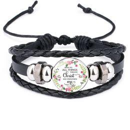 Fashion christian bracelet online shopping - Fashion Christian Bible lesson leather bracelets For women Christians Scripture Glass Time Gem Cabochon charm Bangle religious Jewelry Gift