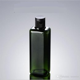 Wholesale Plastic Green Bottle Caps NZ - 300pcs Green Square Plastic Cosmetic Empty Bottle with Flip Cap Essential Oil Cream Sample Packaging Container Bottles