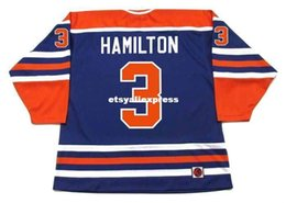 K1 Blue Australia - custom Mens AL HAMILTON Edmonton Oilers K1 1975 WHA Vintage Retro Hockey Jersey