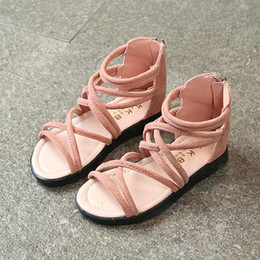 children leather sandals Canada - Children Princess Shoes Kids Girls Summer Beach Sandals Pink Soft Leather Flat Sandal School Casual Wedding Shoes Size