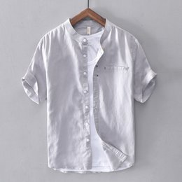 mandarin collar t shirts men Canada - Cotton Linen Shirt Men Solid Short Sleeve Casual Slim Button Down Quality Mandarin Men's Dress Shirts Camisa Masculina TS-668