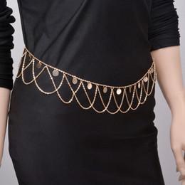 Gold Belly Dance Chains Australia - Boho Silver Gold Metal Belly Waist Chain Tassel Sequins Charms Body Multilayer Chain Bikini Beach Turkish Dance Belt Jewelry