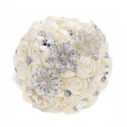 $enCountryForm.capitalKeyWord Australia - Wedding Decoration Supplies Hand Made Ivory Satin Roses Bright Diamond Flower Salable Product for Bride Bouquet with Artificial Crystal Brid