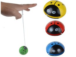 Metal Yoyo For Kids Australia - toy Creative Wooden Children Toys Hand Painting Lovely Ladybug Yoyo For Kids Free Shipping GYH S30