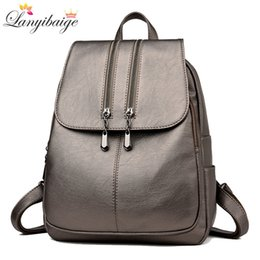 large travelling backpacks Canada - Casual Double Zipper Women Backpack Large Capacity School Bag For Girl Brand Leather Shoulder Bag 2018 Lady Bag Travel Backpack Y19051502