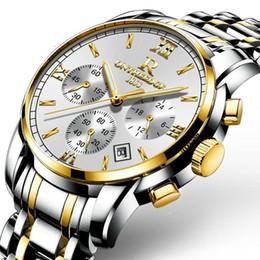 $enCountryForm.capitalKeyWord Australia - wristwatches mens designer watches waterproof Coated Glass men watch Luminous three-eye 6-pin quartz watch metal strap NE1028