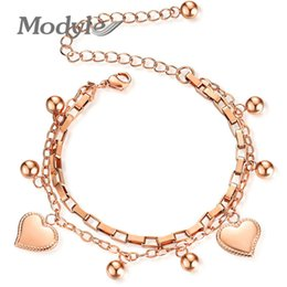 wholesale adjustable silver snake chains Canada - Modyle 2020 New Fashion Heart Double layer Bracelet For Women Adjustable Silver Color Stainless Steel Bracelets Bangles Jewelry