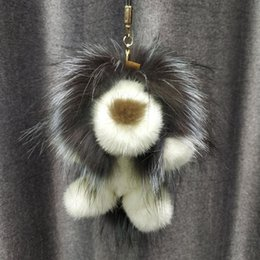 $enCountryForm.capitalKeyWord Australia - 2019 Lion Toy Doll Keychain Real Mink Raccoon Fur Charm Bag Key Ring Keyring Pendant Gift Charm Accessories