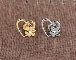 Pet Lovers Gifts Australia - 2019 Hot sale Silver Gold Color Love Heart Paw Lapel Pin Pet Paw Print Pet Loss and Pet Memorial Pins Jewelry Dog Cat Lover Gifts