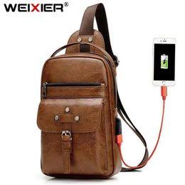 Free Designer Purses Australia - High Quality Crossbody Men Leather Free Your Hands Chest Bags USE Charge Shoulder Bag Man Purses Sac Brand Designer