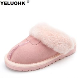 Large Housing Australia - 7 Colors Sheepskin Real Wool Winter Slippers Women Plush Home Shoes Fur Warm Comfort Indoor House Home Slippers Large Size
