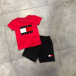 kids character ribbons UK - New 2019 hot Brand Kids Sets 2-8T Children T-shirts And Shorts Pants Kids Tracksuits Children Sport Suit 2 Pcs Sets Short Sleeve M11