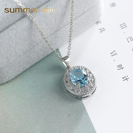 $enCountryForm.capitalKeyWord Australia - High Quality Stainless Steel Chain Crystal Glass Blue Gemstone Pentdant Necklace for Women Girls Adjustable Silver Chain Necklace Jewelry