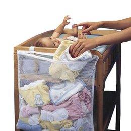 Pink Infant Bedding Australia - Baby Large Hanging Storage Bag Organizer Bedding Set Infant Dirty Clothes Transparency Grid Bag