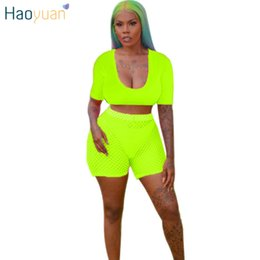 $enCountryForm.capitalKeyWord Australia - HAOYUAN Neon Green Pink Two Piece Set Women 2019 Festival Clothing Crop Top+Fishnet Biker Shorts Sexy Club Outfits Matching Sets