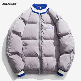 ef34ab2314c puffer down jackets 2019 - Aolamegs Down Jacket Men Stand Collar Puffer  Jacket Thick Winter Splice