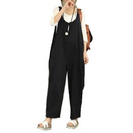 подтяжки в целом  оптовых-Long Pants Large Size High Waist With Pockets Solid Long Playsuit Dungarees Cosy Spring Suspender Trousers Overall Pants