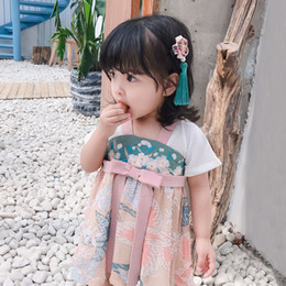 Bow Old Australia - infant, little girl, children's hanfu, girl's dress, Princess, 1-2 years old, baby's summer dress,Fairy,Floral,Bow,Chiffon dressD216
