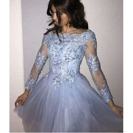 Knee length blue lace evening dress online shopping - Short Prom Cocktail Dresses Plus Size Arabic Muslim Evening Formal Dress Gown Long