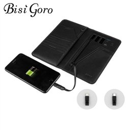 Android Wallet Australia - BISI GORO 2019 Unisex Smart Wallet Phone USB for Charging Wallet Passport Package Adapt For Ipone And Android Capacity 10000 mAh #124844