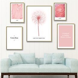Mirrors for bathrooM walls online shopping - Colorful Pink Memory Wall Art Canvas Wall Pictures For Bathroom Scandinavian Home Decor