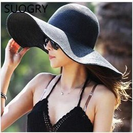 big hats for sun NZ - 2015 Summer Fashion Floppy Straw Hats Casual Vacation Travel Wide Brimmed Sun Hats Foldable Beach Hats For Women With Big Heads C19011401