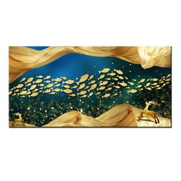 Fish Figures Australia - Wall Art Gifts Hot series Modern Abstract Gold Feng Shui Koi Fish Painting Printed On Canvas Picture office Living Room Home Decor BFS4013