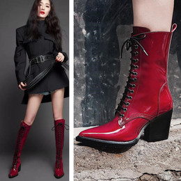 $enCountryForm.capitalKeyWord NZ - New Style Pointed Toe Chunky Heel Thick Bottom Half Boots Autumn Winter Pointed Toe Mixed Color Lace Up Martin Boots England Style Wedge