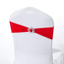 spandex chair covers bands NZ - 100pcs 22 Colors Chair Sashes Spandex Lycra Chair Bands With Crown Buckle For Wedding Party Birthday Cover Sash Bands